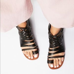Free People Mie Leather Strappy Sandals